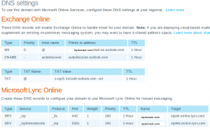 Office365 DNS Settings